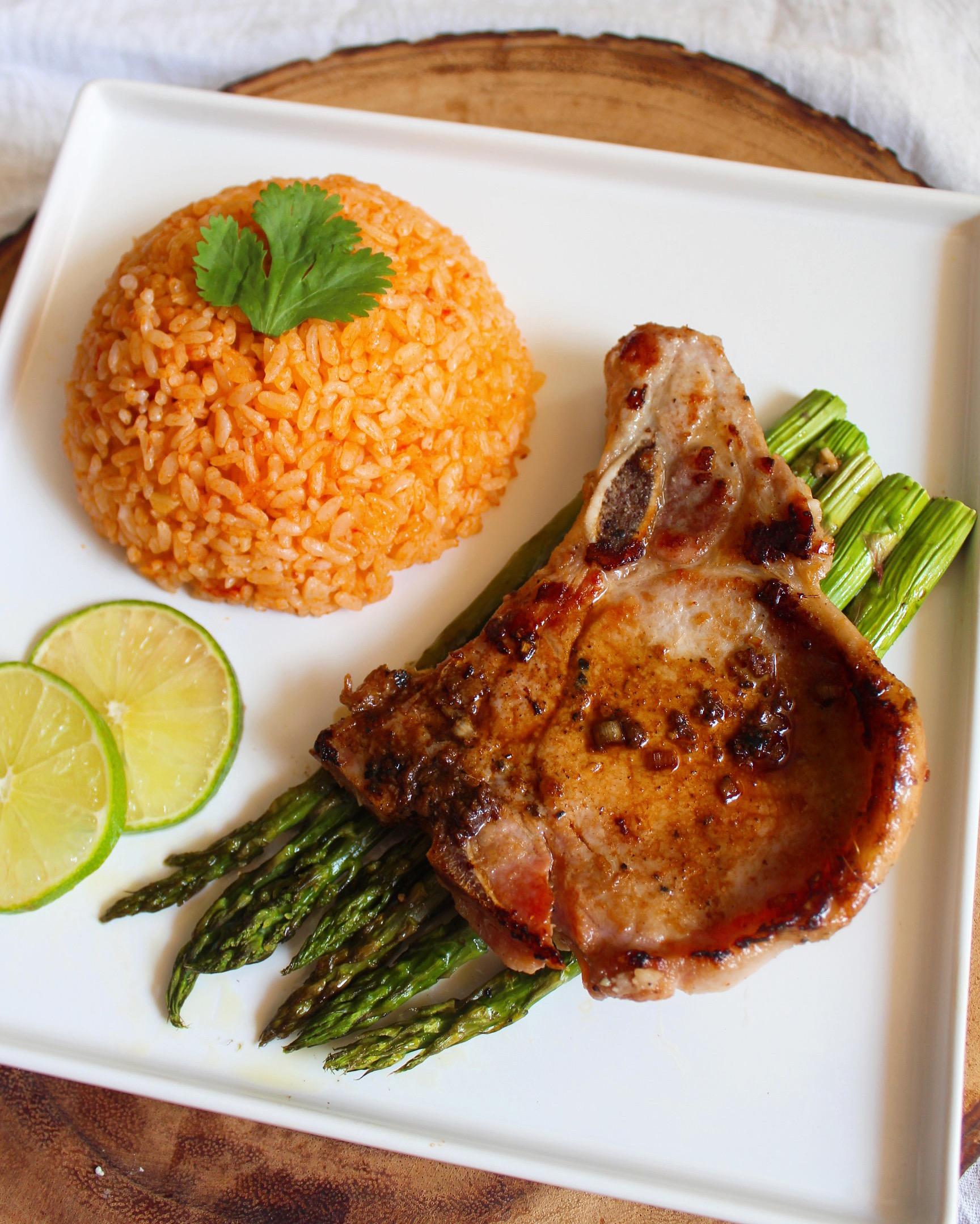 vietnamese pork chop tomato rice recipe Vietnamese Lemongrass Pork Chops and Tomato Red Rice